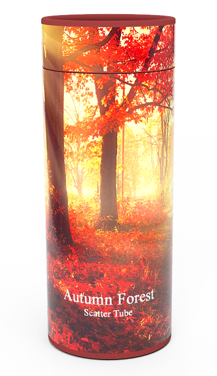 Personalised Custom Bespoke Ashes Scattering Tube Urn for Cremated Remains in Floral WOODLAND FOREST design