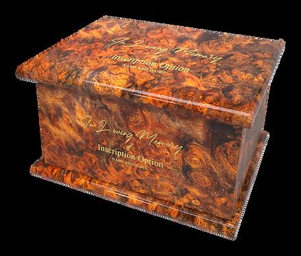 Personalised Custom BURLWOOD Wood Effect Cremation Ashes Casket
