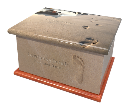Personalised Custom Cremation Ashes Caskets and Keep-Sake Urns in a Spiritual Relgious FOOTPRINTS IN THE SAND design