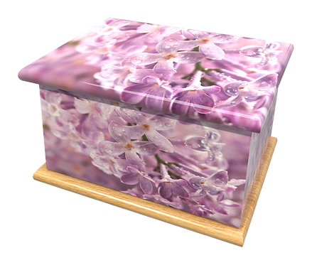 Custom Personalised Cremation Ashes Casket in FLORAL FLOWER GARDEN design