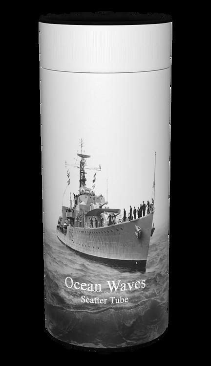 Custom Personalised Ashes Casket Urn Scatter Tube ROYAL NAVY OCEAN WAVES