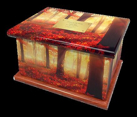 Custom Personalised Cremation Ashes Casket Urn WOODLAND FOREST AUTUMN