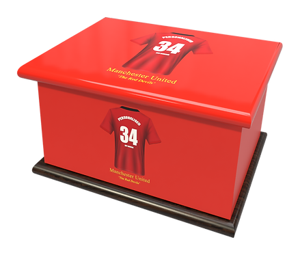 Custom Personalised Cremation Ashes Casket Urn FOOTBALL TEAM MANCHESTER UNITED