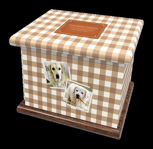 Custom Personalised Pet Cat Dog Animal Cremation Ashes Casket Urn GINGHAM