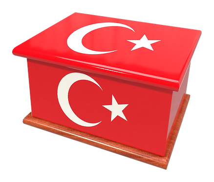 Personalised Custom Cremation Ashes Caskets COUNTRY AND BRITISH COUNTY FLAGS TURKEY TURKISH