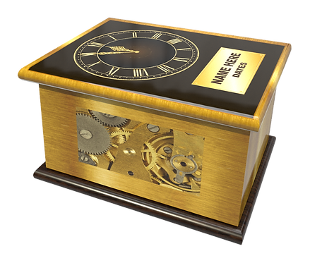 Personalised Custon Cremation Ashes Casket and Keep-Sake in CLOCK design