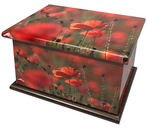 Personalised Custom FLORAL POPPY POPPIES Cremation Ashes Casket and Keep-Sake Urns
