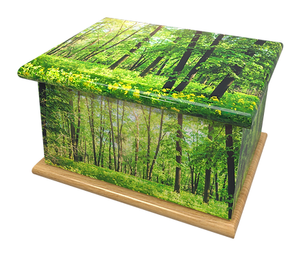 Custom Personalised Cremation Ashes Casket Urn GREEN FOREST WOODLAND