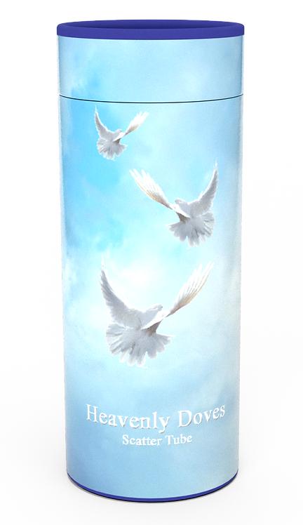 Personalised Custom Bespoke Ashes Scattering Tube Urn for Cremated Remains in a Religious Spiritual Faith DOVES design