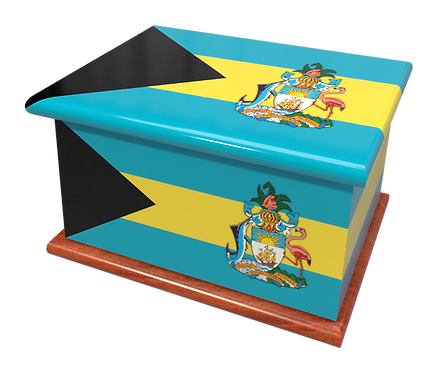 Custom Personalised Ashes Casket in a BAHAMAS FLAG design