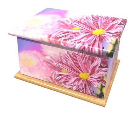 Personalised Custom FLORAL PINK FLOWERS Cremation Ashes Casket and Keep-Sake Urns