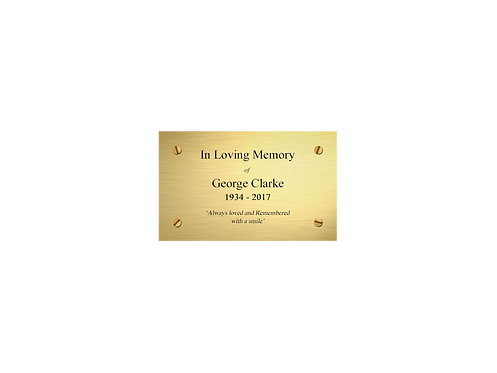 Personalised Coffin and Casket Brass Effect Nameplates with a choice of Motif