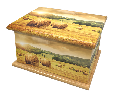 Custom Personalised Cremation Ashes Casket Urn HARVEST MEADOW FIELD