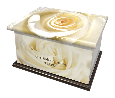 Custom Personalised Cremation Ashes Casket in FLORAL WHITE ROSE design