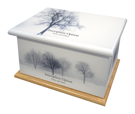 Custom Personalised Cremation Ashes Casket Urn SCENIC WINTRER SNOW CHRISTMAS