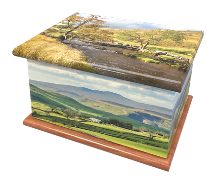 Custom Personalised Cremation Ashes Casket Urn YORKSHIRE DALES MOORS