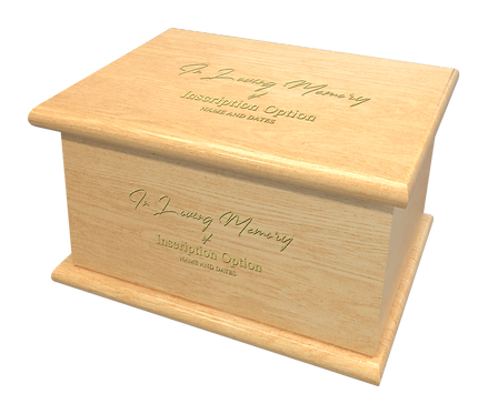 Personalised Custom LIGHT OAK Wood Effect Cremation Ashes Casket
