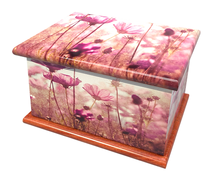 Personalised Custom FLORAL PURPLE FLOWER Cremation Ashes Casket and Keep-Sake Urns