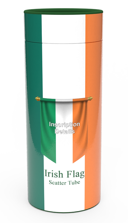Personalised Custom Bespoke Ashes Scattering Tube Urn for Cremated Remains in Flag IRELAND IRISH design