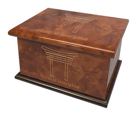 Personalised Custom Cremation Ashes Caskets and Keep-Sake Urns in a Spiritual Relgious SHINTO design
