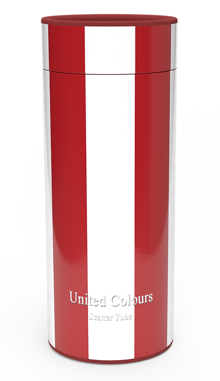 Personalised Custom Bespoke Ashes Scattering Tube Urn for Cremated Remains in a Football Soccer sport UNITED RED design
