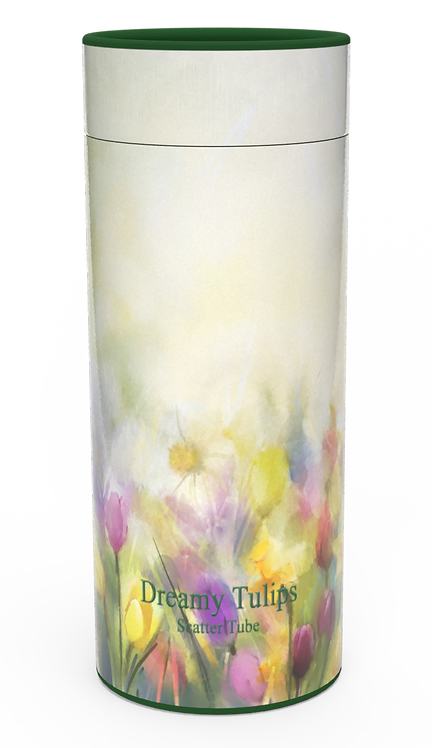 Personalised Custom Bespoke Ashes Scattering Tube Urn for Cremated Remains in Floral COLOURFUL TULIPS design