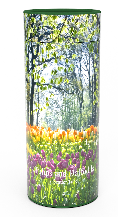 Custom Personalised Funeral Cremation Ashes Casket Urn Floral Flower Designs  TULIPS AND DAFFODILS