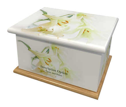 Custom Personalised Cremation Ashes Casket Urn LILIES FLOWERS