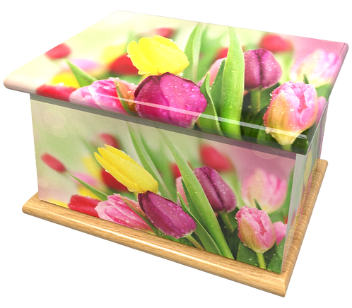 Custom Personalised Cremation Ashes Casket in FLORAL TULIPS design