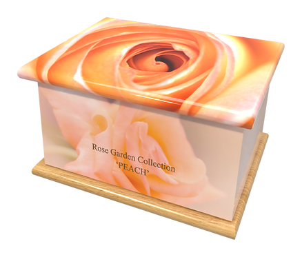 Personalised Custom FLORAL PEACH ROSE Cremation Ashes Casket and Keep-Sake Urns