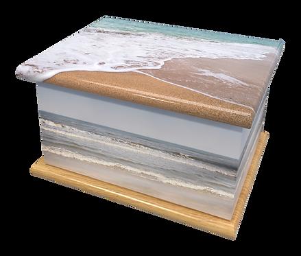Custom Personalised Bespoke Cremation Ashes Casket SEA SHORE SAND BEACH SEASIDE