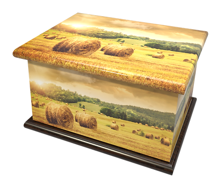Custom Personalised Bespoke Cremation Ashes Casket HARVEST COUNTRYSIDE FIELD
