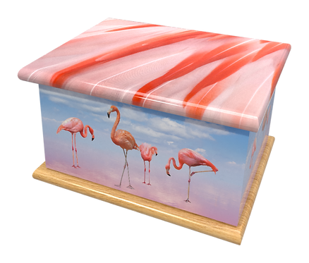 Custom Personalised Cremation Ashes Caskets Containers and Urns PINK FLAMINGOS