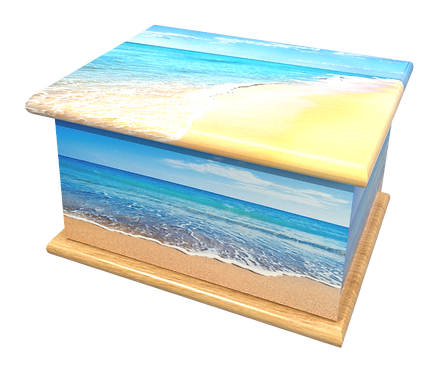 Personalised Custom Cremation Ashes Caskets and Keep-Sake Urns in a BEACH SAND SEASIDE Landscape design