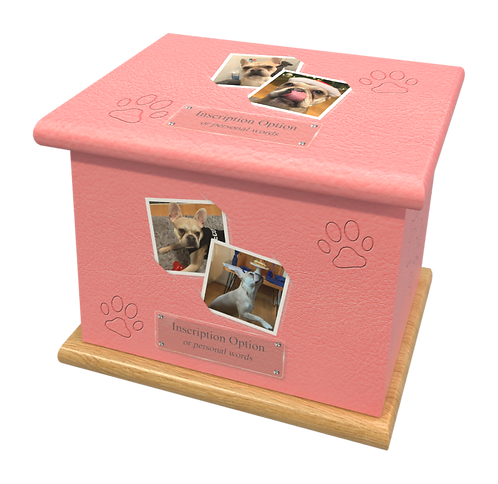 Custom Personalised PET Animal Cat Dog Ashes Casket Urn In Leather Design