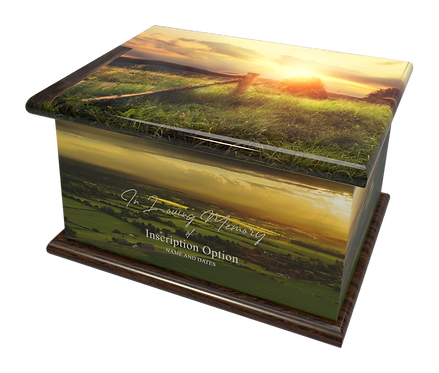 Custom Personalised Cremation Ashes Casket Urn COUNTRYSIDE SUNSET