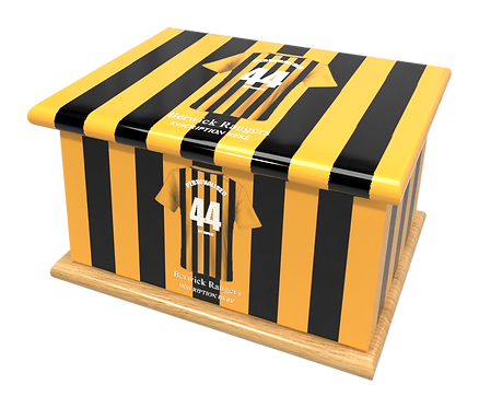 Personalised Custom Cremation Ashes Caskets BERWICK RANGERS FOOTBALL CLUB THE BORDERERS THE BLACK AND GOLD