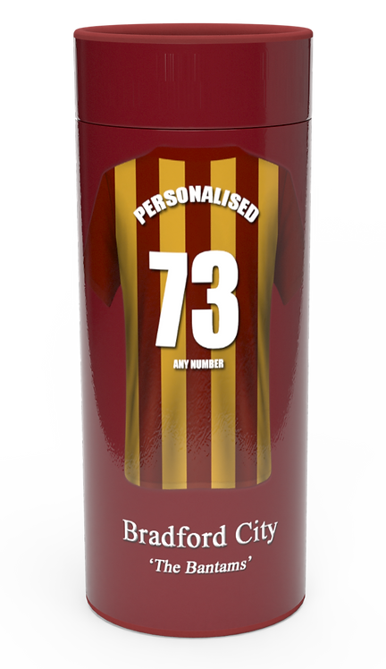 Personalised Custom Bespoke Ashes Scattering Tube Urn for Cremated Remains in a Football Soccer sport BRADFORD CITY design