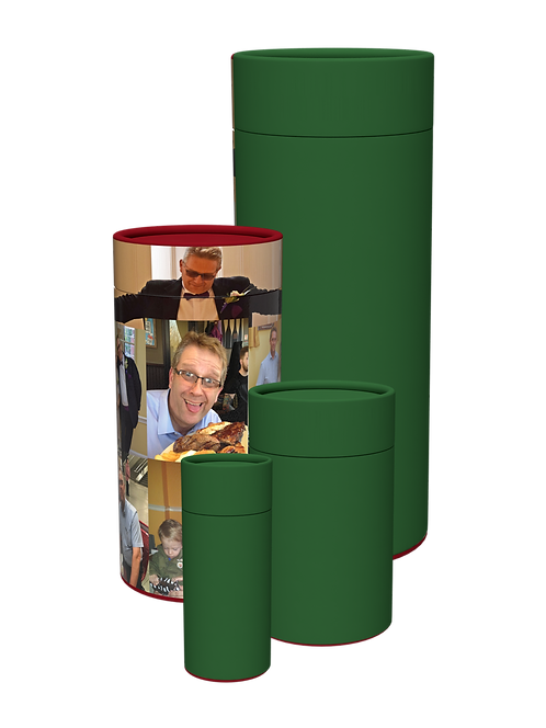 Custom Personalised Montage Photographic Ashes Casket scatter Tube