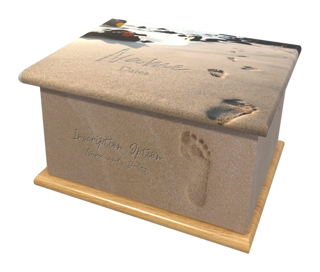 Ashes Casket FOOTPRINTS (OAK BASE)