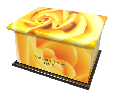 Personalised Custom FLORAL YELLOW ROSE Cremation Ashes Casket and Keep-Sake Urns