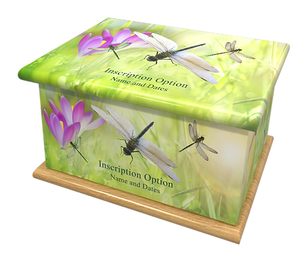 Custom Personalised Cremation Ashes Casket Urn DRAGONFLIES