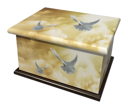 Personalised Custom Cremation Ashes Caskets and Keep-Sake Urns in a Spiritual Relgious HEAVENLY DOVES design