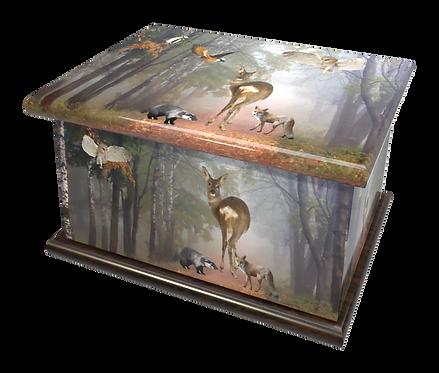 Personalised Custon Cremation Ashes Casket and Keep-Sake in WILDLIFE ANIMALS DEER design