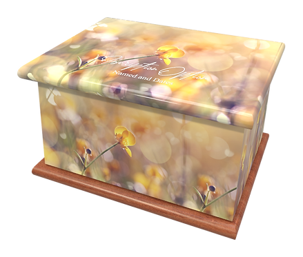 Custom Personalised Cremation Ashes Casket Urn BUTTERCUP MEADOW