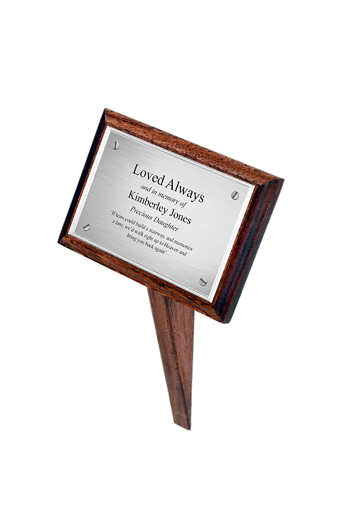 grave memorial markers in oak and mahogany with ashes casket name plates attached