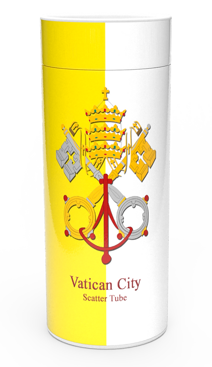 Personalised Custom Bespoke Ashes Scattering Tube Urn for Cremated Remains in four sizes VATICAN CATHOLIC ROMAN