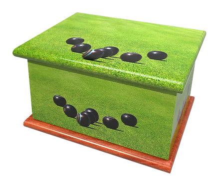Personalised Custon Cremation Ashes Casket and Keep-Sake in BOWLS BOWLING design
