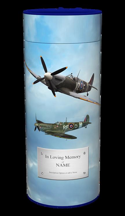 Custom Personalised Cremation Ashes Casket Urn Scatter Tube SPITFIRE RAF PLANE