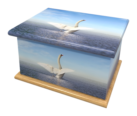 Custom Personalised Cremation Ashes casket Urn SWANS BIRDS LAKE